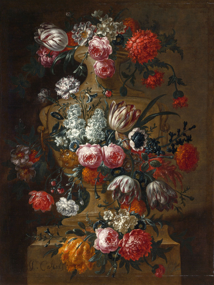 """""""Vase of Flowers on a Ledge."""" After 1690."""