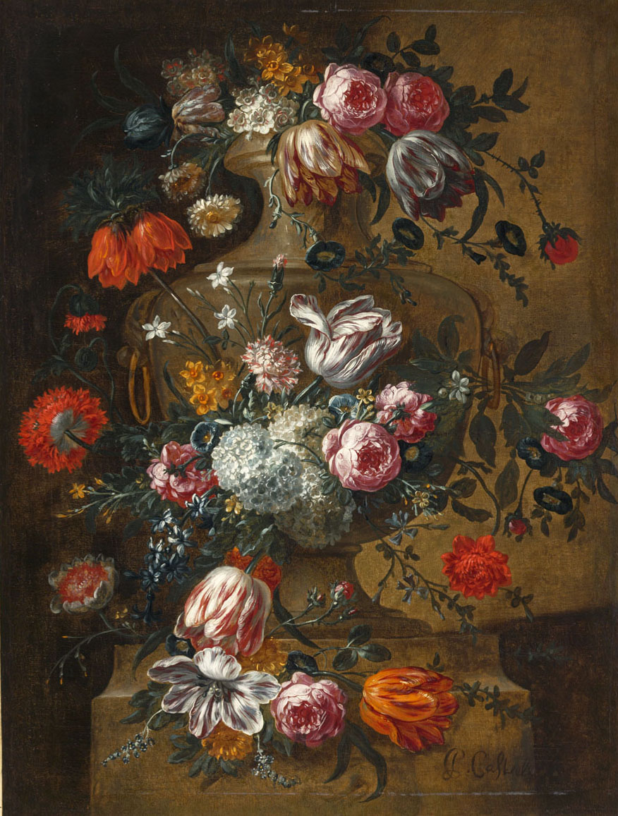 """""""Flowers in a Stone Urn."""" After 1690."""