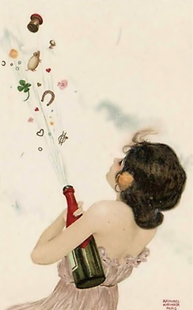 """""""Champagne and lucky charms"""", from the series """"Girls with good luck charms"""". 1902."""