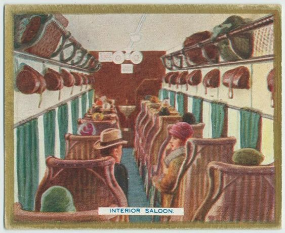 Interior saloon of a flying boat depicting a flight from London to Amsterdam. 1930's.