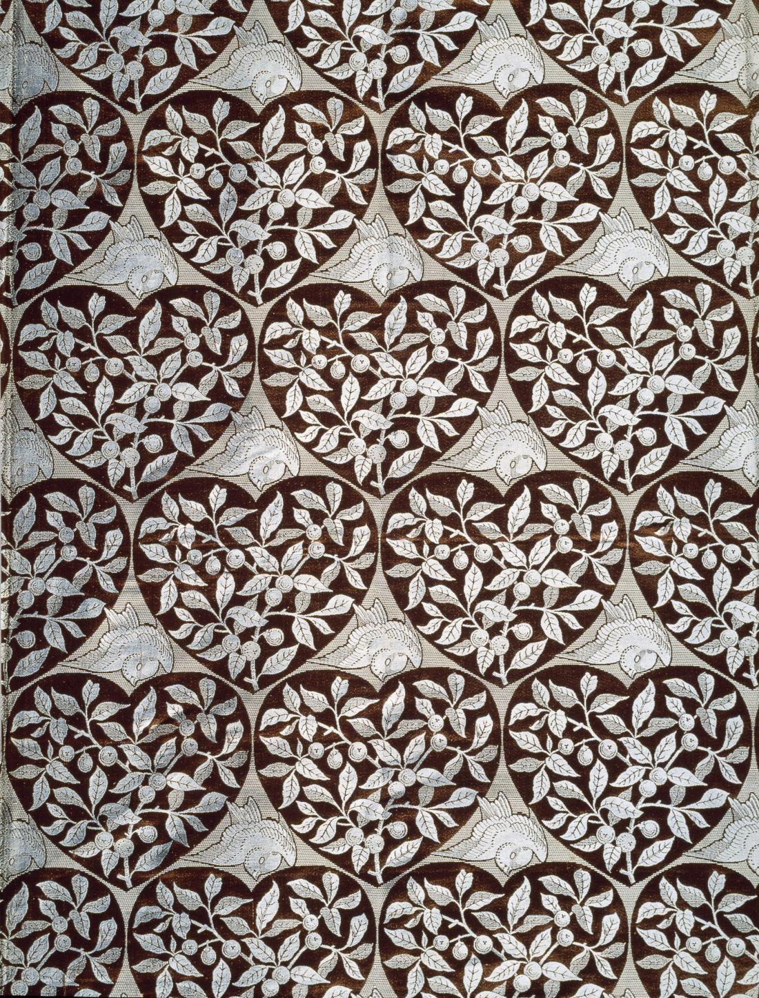 """""""Bird."""" 1876. Furnishing fabric."""