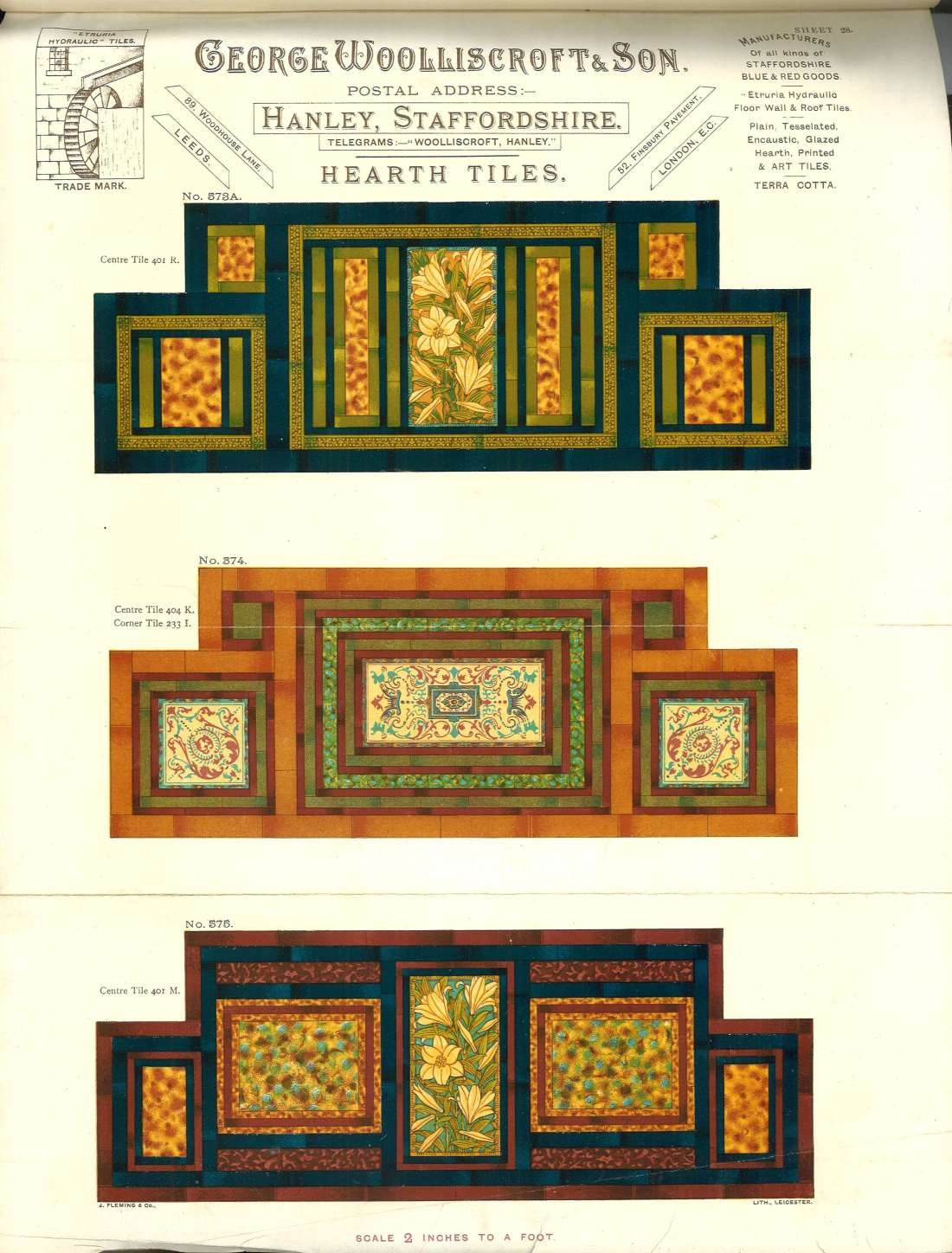 """""""Hearth tiles. George Wooliscroft and Son."""""""
