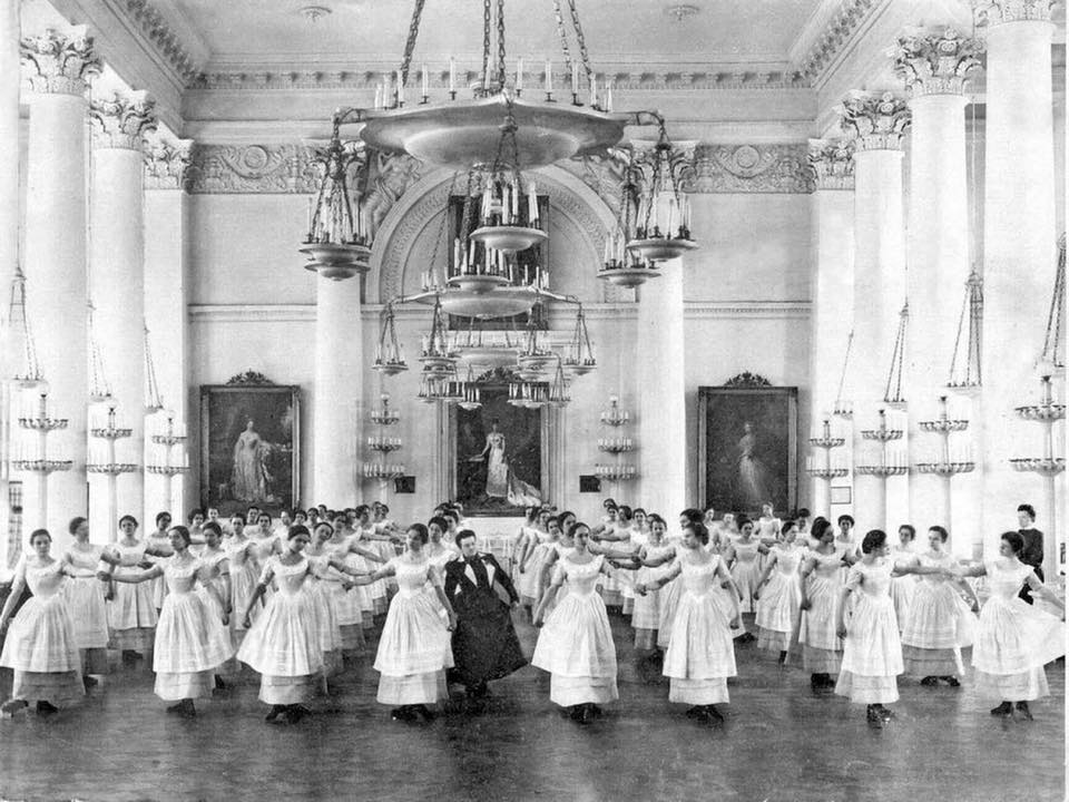 """""""Dancing class, the Minuet."""" Smolny Institute for Young Ladies, Saint Petersburg, Russia. ca. 1906."""