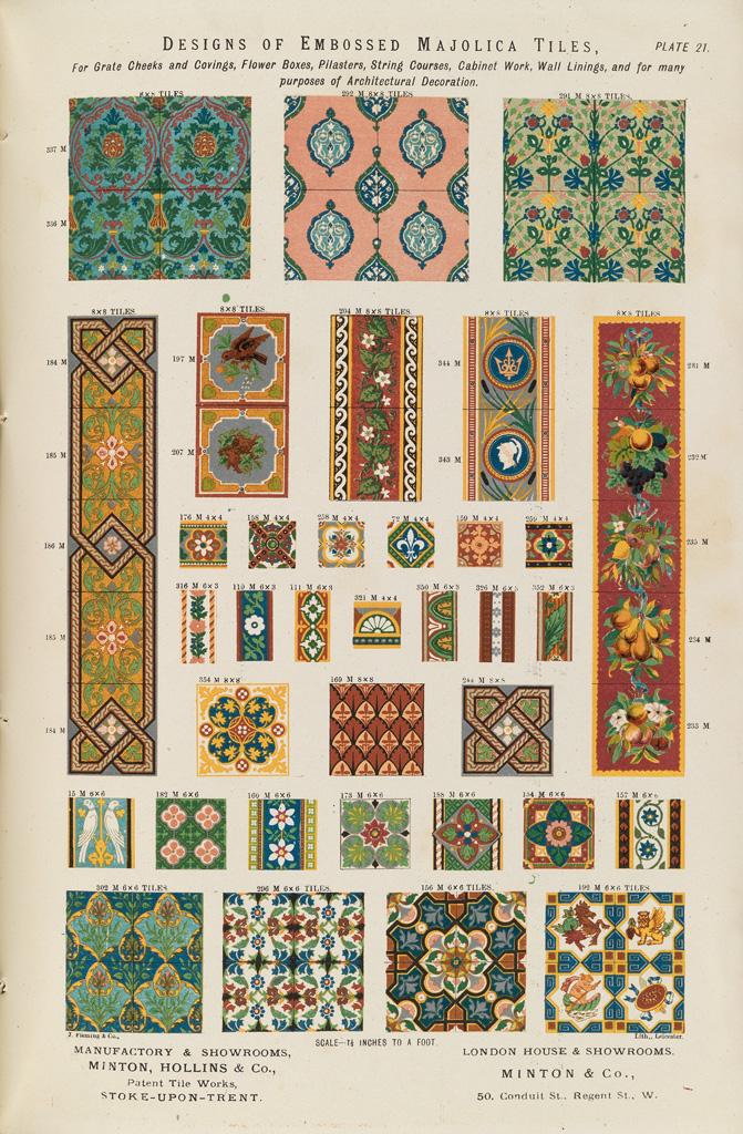 """""""Designs of embossed majolica tiles."""""""