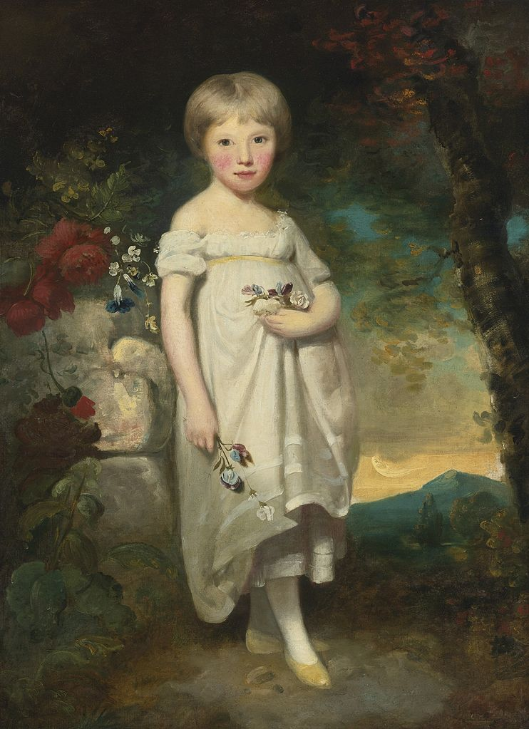 Portrait of Miss Elizabeth Buckler standing in a landscape.