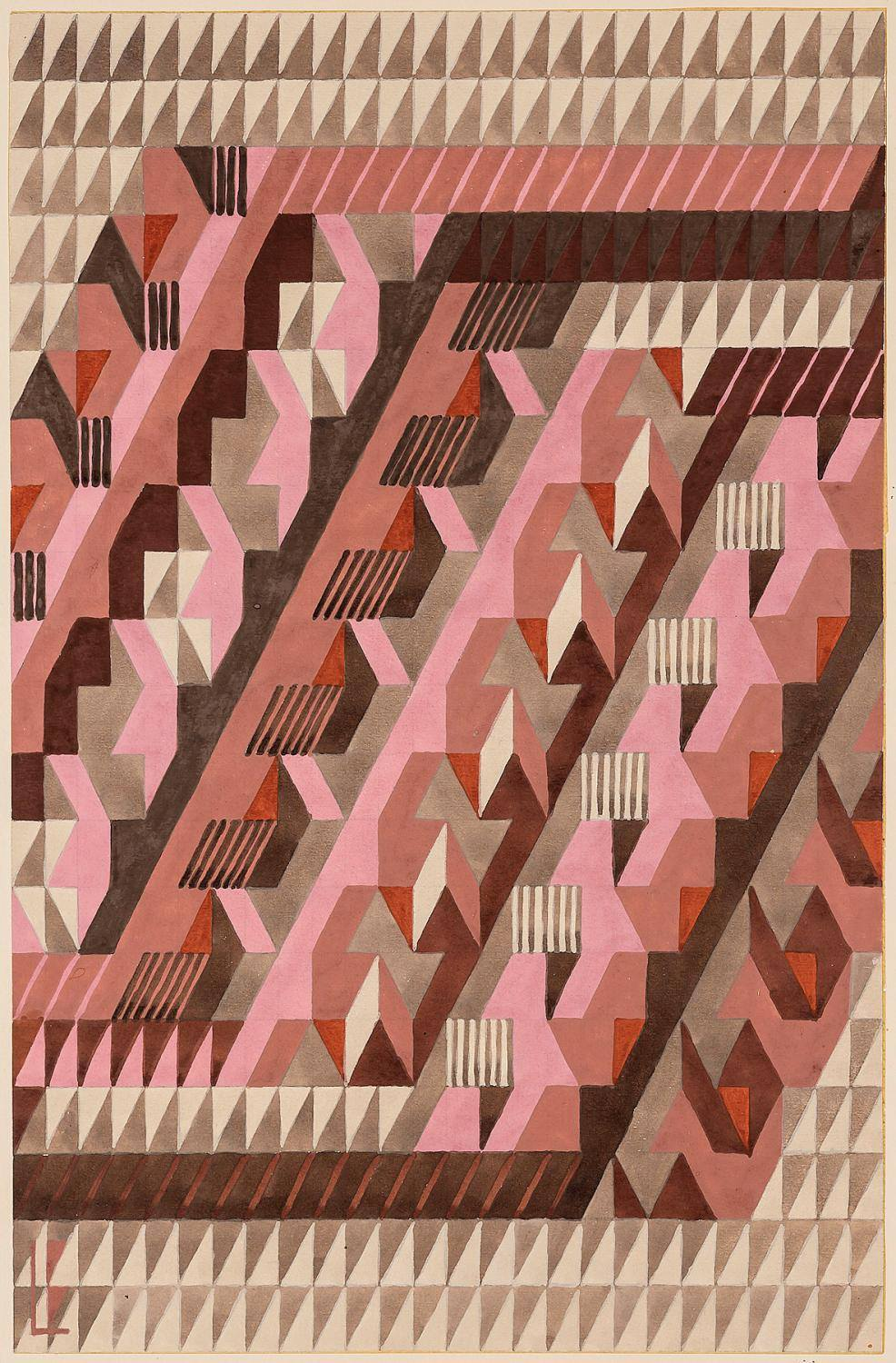 """""""Diagonal."""" 1938. Design for a knotted carpet. number 4/39."""