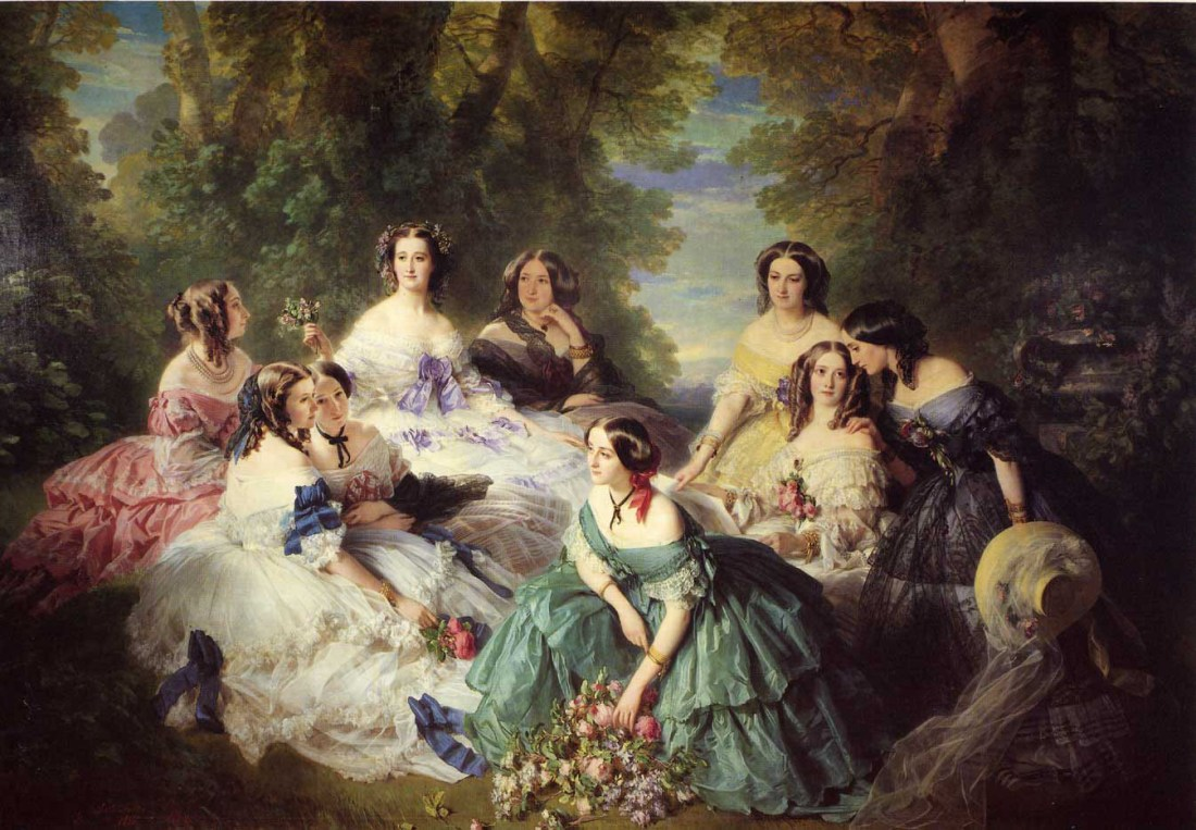 """""""The Empress Eugenie Surrounded by her Ladies in Waiting."""" 1855."""