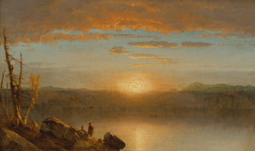 """""""Indians at sunset/Sunset in the Wilderness."""" ca. 1859."""