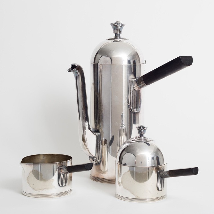 "Gift Ware Contemporary Group ""His Royal Highness"" coffee service. Coffee pot, creamer and sugar. 1934."