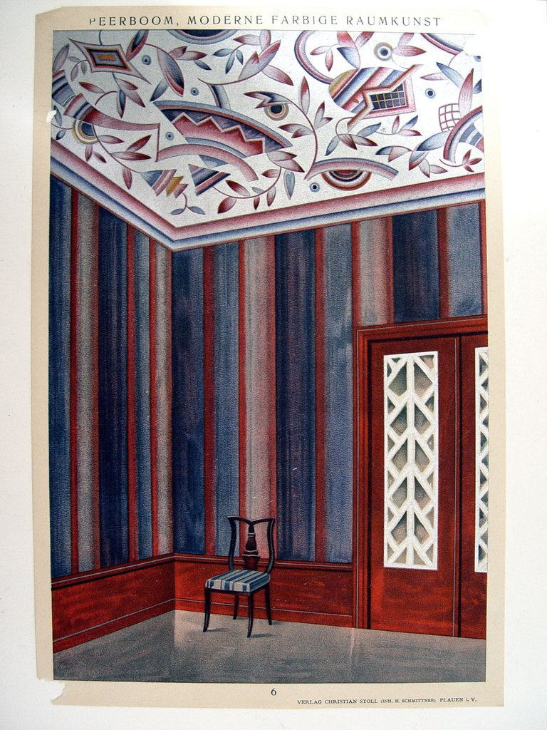 Interior. 1929. Navy and silver.