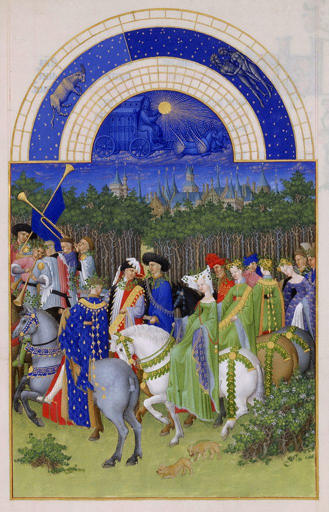 Month of May from the  Très Riches Heures du duc de Berry. ca. 1412-1416.