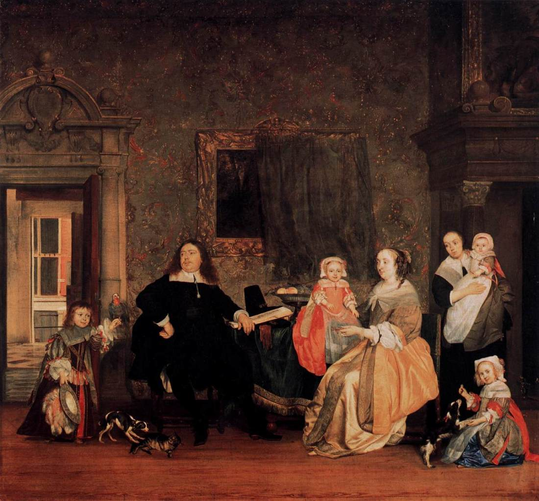 """""""Portrait of Jan Jacobsz Hinlopen and his Family."""" ca. 1662-63."""