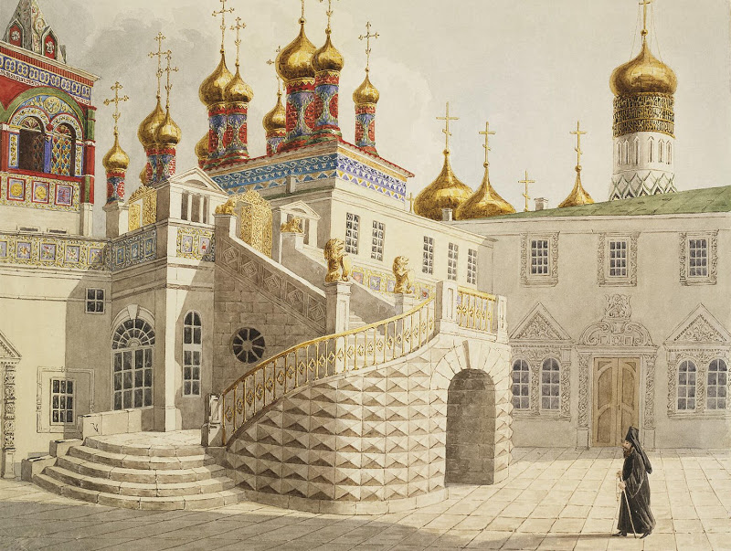 """Boyar Ground and the Church of Our Saviour behind the Gold Railing in the Moscow Kremlin."" 1838."