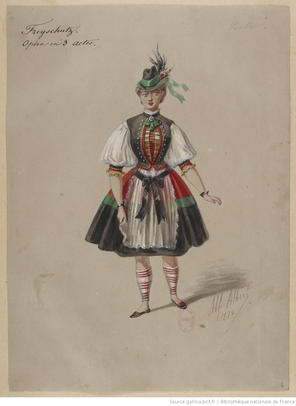 """Costume sketch or maquette for a dancer in the ballet scene from a production of """"Der Freischütz"""". 1870-1877."""