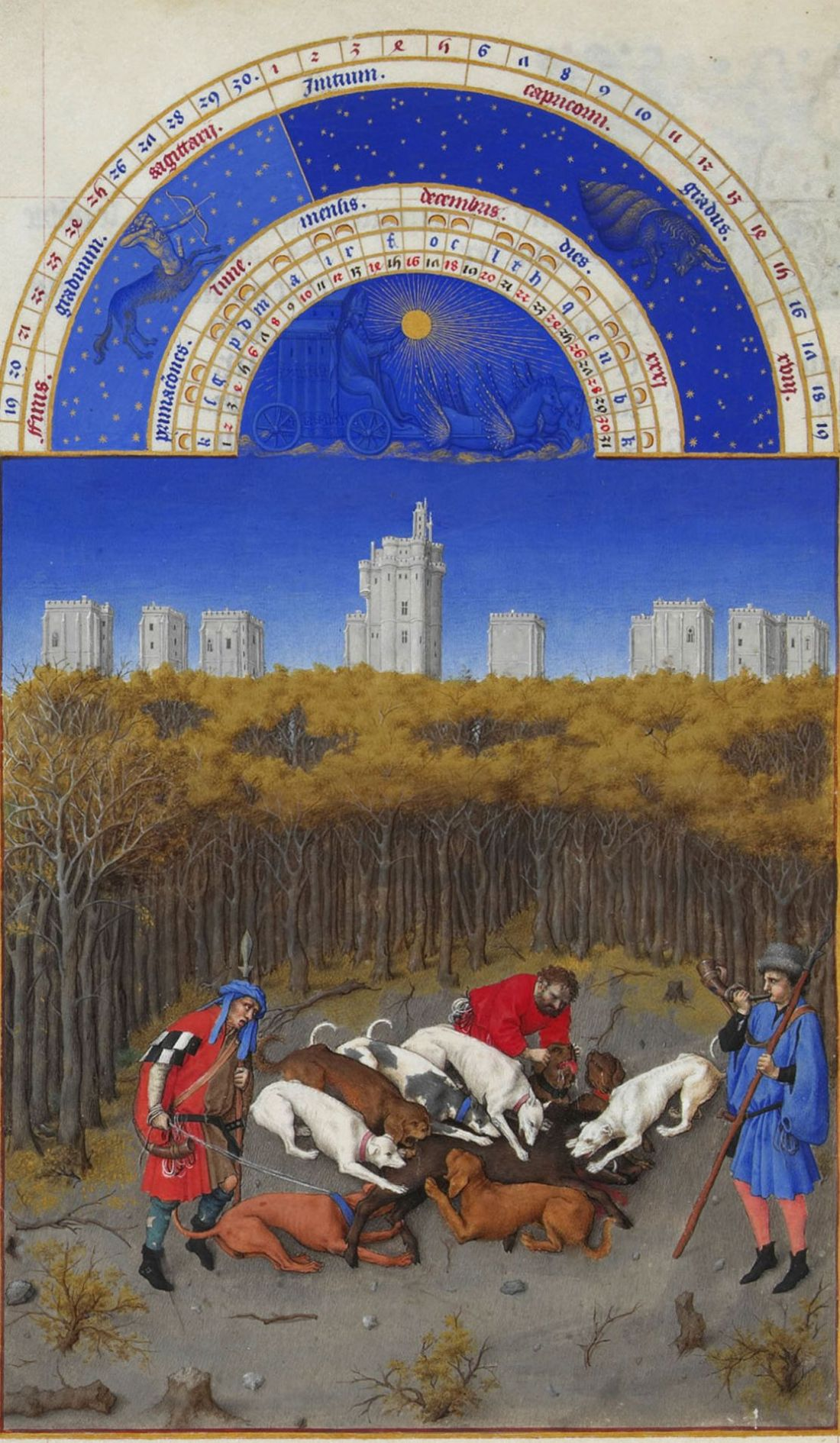 December.   From the  Tres Riches Heures du Duc de Berry folio 1. 1412-1416.