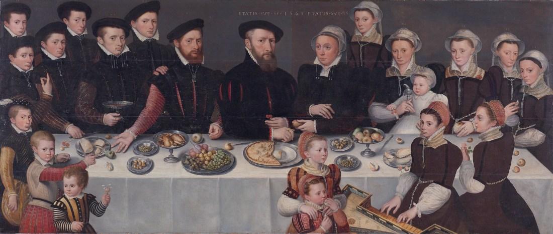 """Family Portrait of Pierre de Moucheron, Merchant in Middelburg and Antwerp, his Wife Isabeau de Gerbier, their eighteen Children, their Son-in-Law Allard de la Dale and first Grandchild."" 1563."