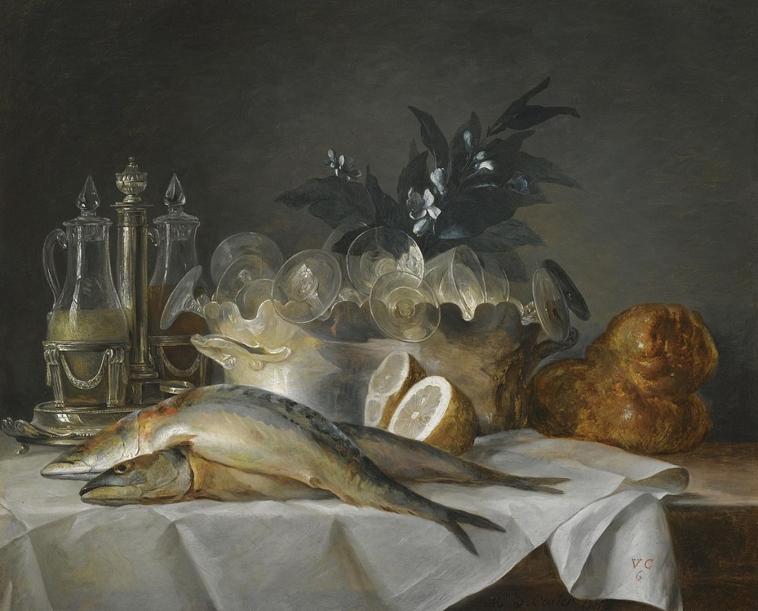 """""""A still life of mackerel, glassware, a loaf of bread and lemons on a table with a white cloth."""" 1787."""