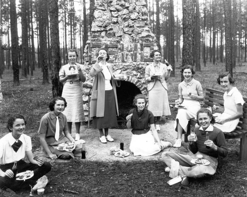 Students at Georgia State Women's College (Valdosta State University) having a picnic in 1938.