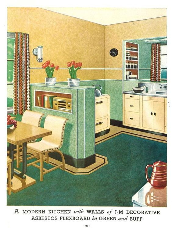 """A modern kitchen with walls of J. M. decorative asbestos flexboard in green and bluff."""