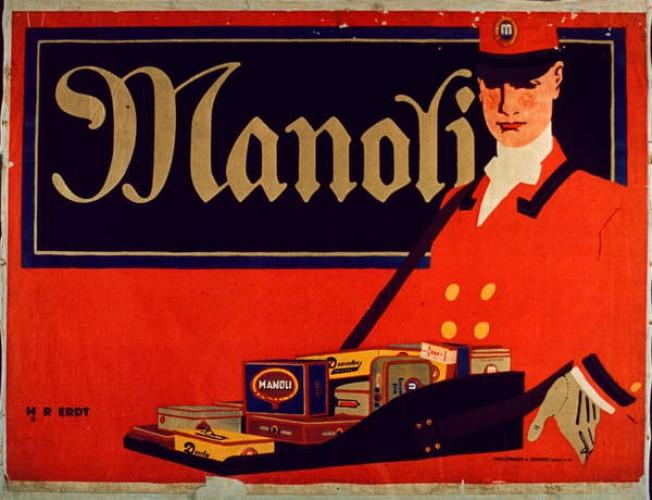 Advertisement for Manoli cigarettes. Poster.