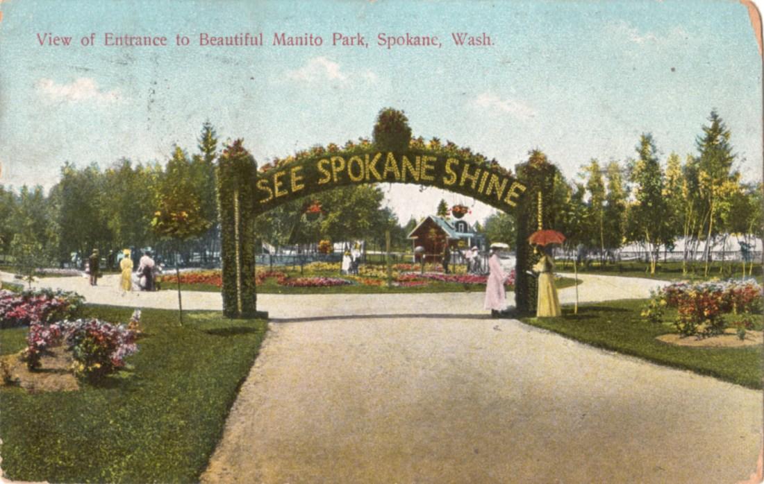 """View of entrance to beautiful Manito Park, Spokane, Washington State."