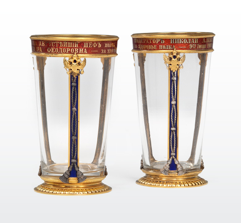 Pair of drinking glasses. 1900.