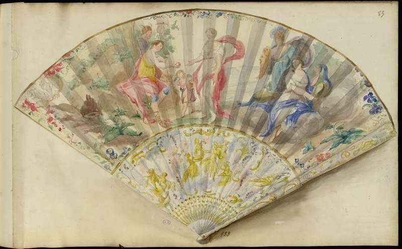 """Judgement of Paris"" hand fan. 1852-1870."