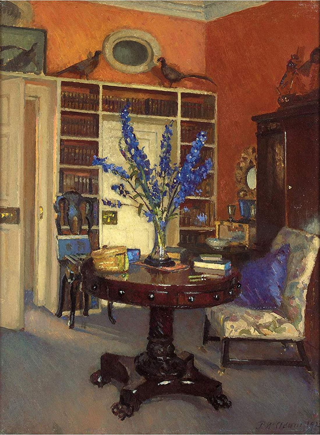 """""""Orange and Blue, The Library at Ardilea."""" ca. 1911."""