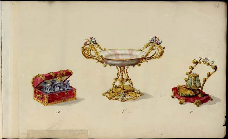 Cup, bottle and flacon.  1852-1870.
