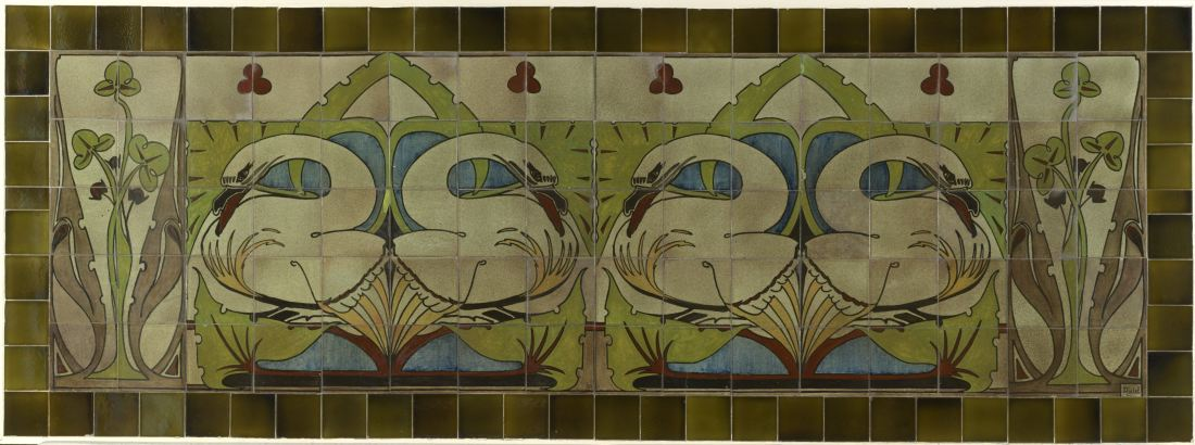 """Tegeltableau met zwanen en bladwerk"" (Tile tableau with swans and leaves) ca. 1910."