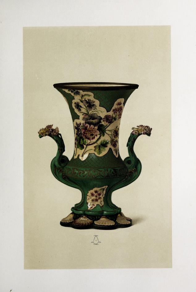 """""""Vase Duplessis, fond vert, en porcelain de Vincennes."""" 1745-1753."""