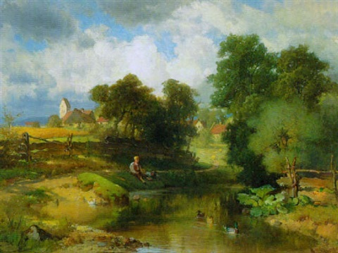 """Angelnder Knabe am Bachufer."" 1860."
