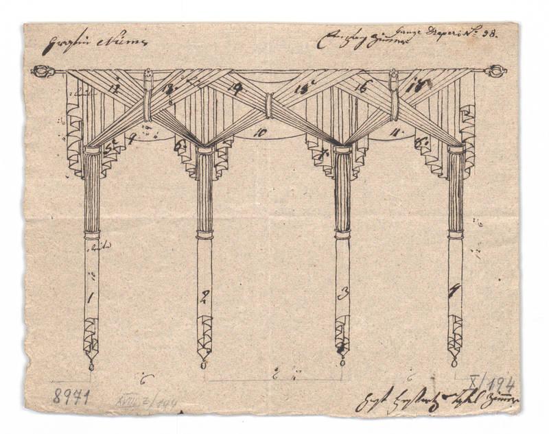 """Design for a window drapery."" 1814-1829."