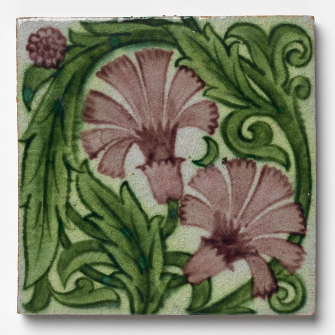 """""""Small carnations and encircled foliage."""" 1872-1881.872 to 1881 william de morgan"""