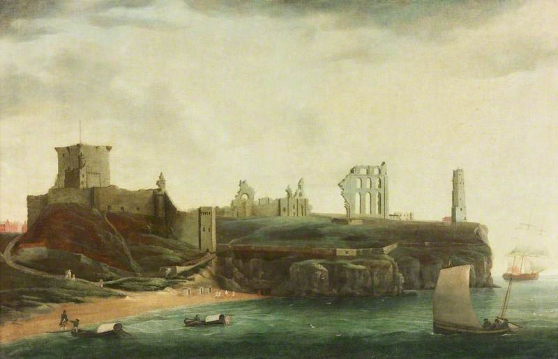 """Figures and Bathing Machines in the Bay below Tynemouth Castle."" 1784."