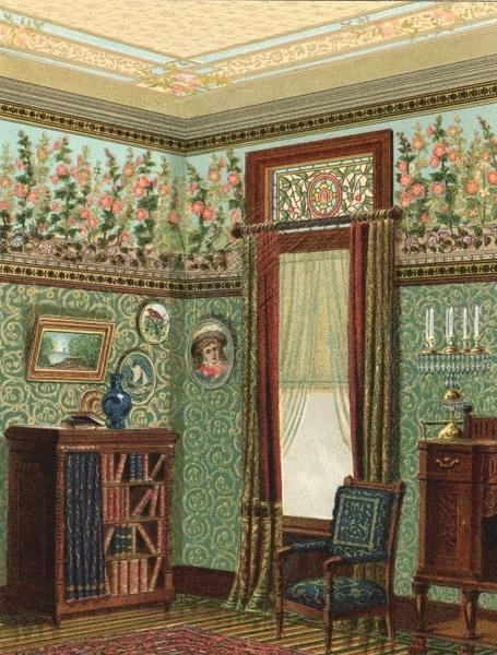 Library. Green wallpaper with a floral frieze. 1885.