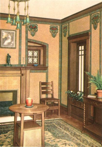 """Parlor interior. From Birge's """"Decorative Suggestions,"""" published in 1914."""