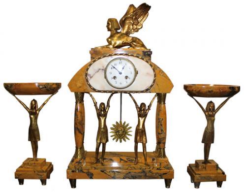 Mantel clock garniture set. Vintage.