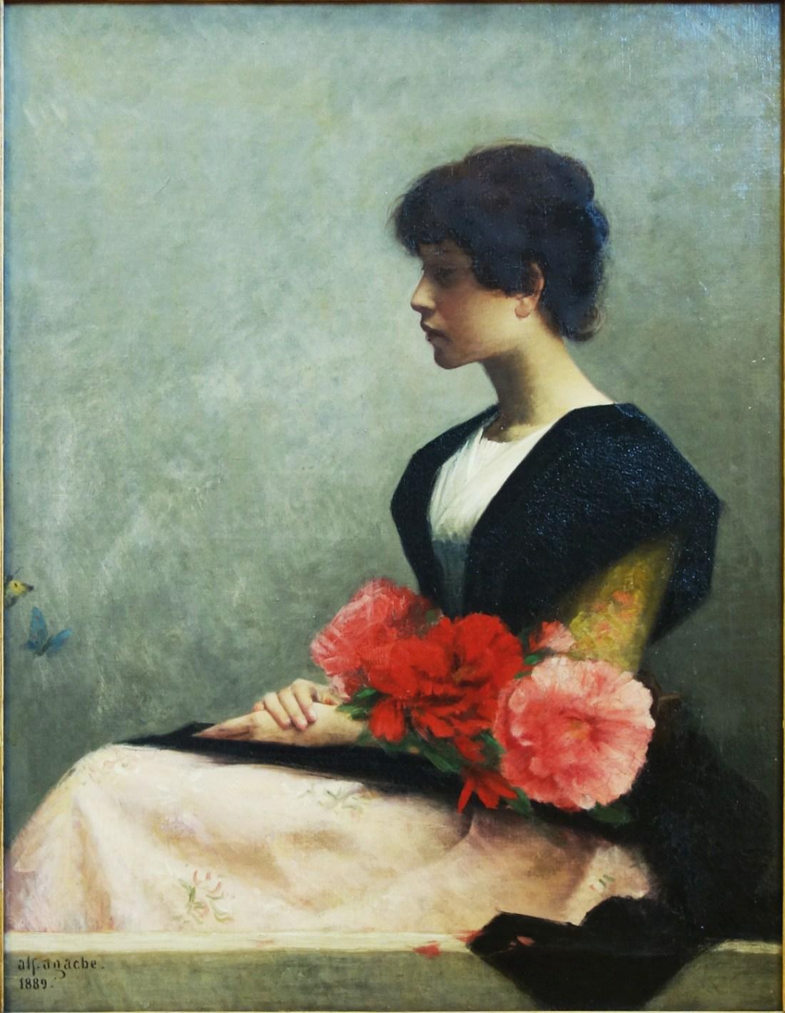 """""""Jeune femme assise tenant des fleurs dans les bras."""" 1889."""
