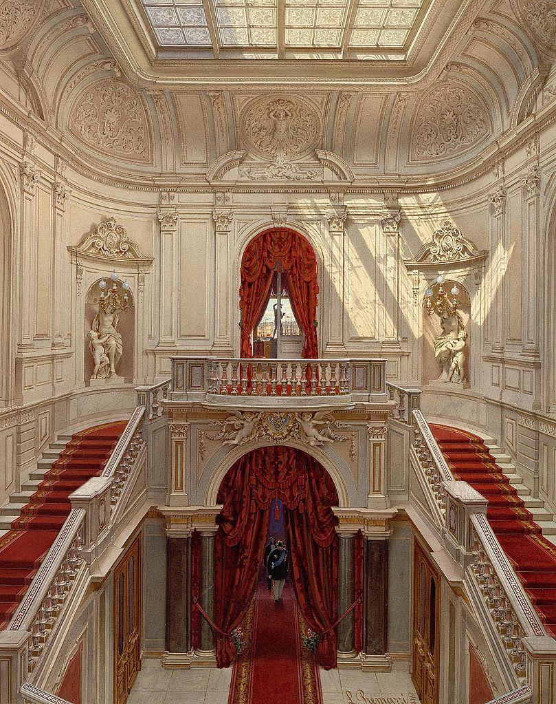 Main staircase, Mansion of Baron Stieglitz. 1871. Watercolor.
