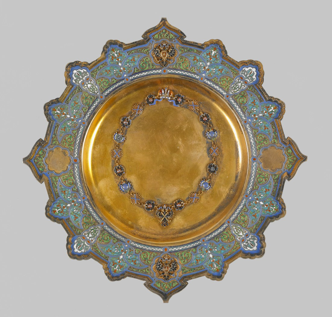 Presentation plate with crown and cross of Saint Andrew. 1885-1889.