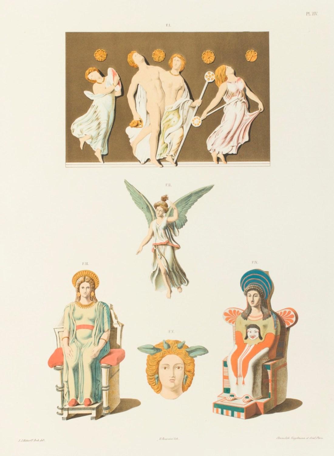 """""""Bas-reliefs, figures et tête en terre cuite coloriée, de la Grèce et da la Sicile."""" 1846."""
