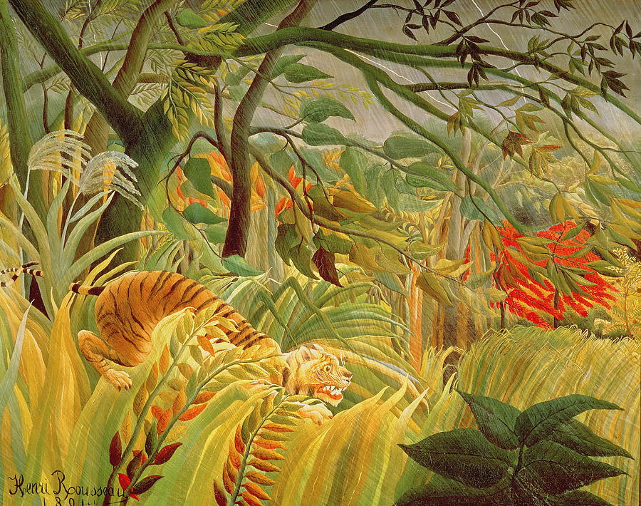 """""""Tiger in a Tropical Storm (Surprised!)"""" 1891."""