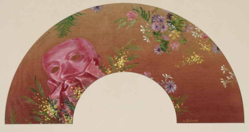 """""""Mask and Flowers."""" ca. 1890."""