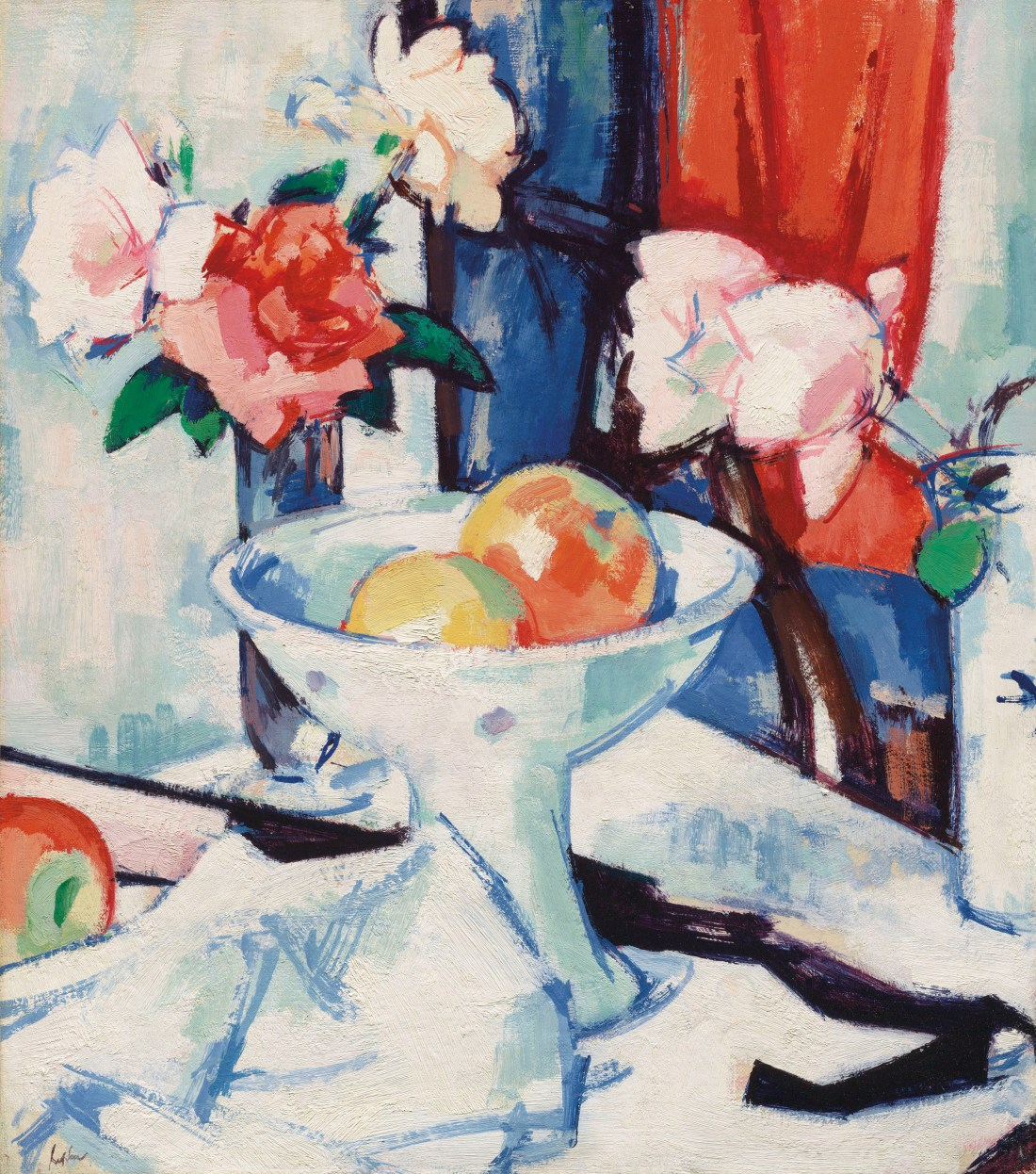 """""""Still Life of Roses and Apples."""" Early 1920's."""