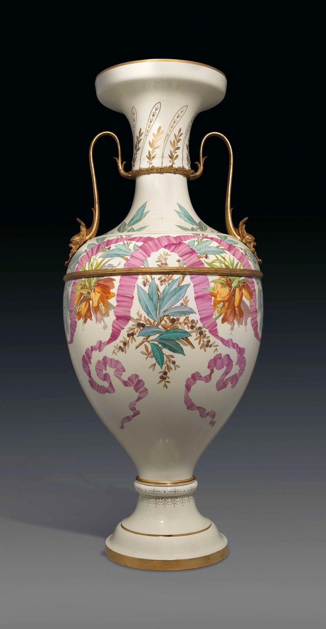 Monumental pale yellow ground vase.  ca. 1858-1863.
