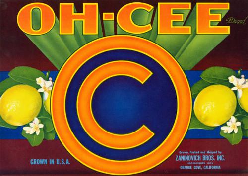 Oh-Cee, Zaninovich Brothers, Orange Cove. Undated.