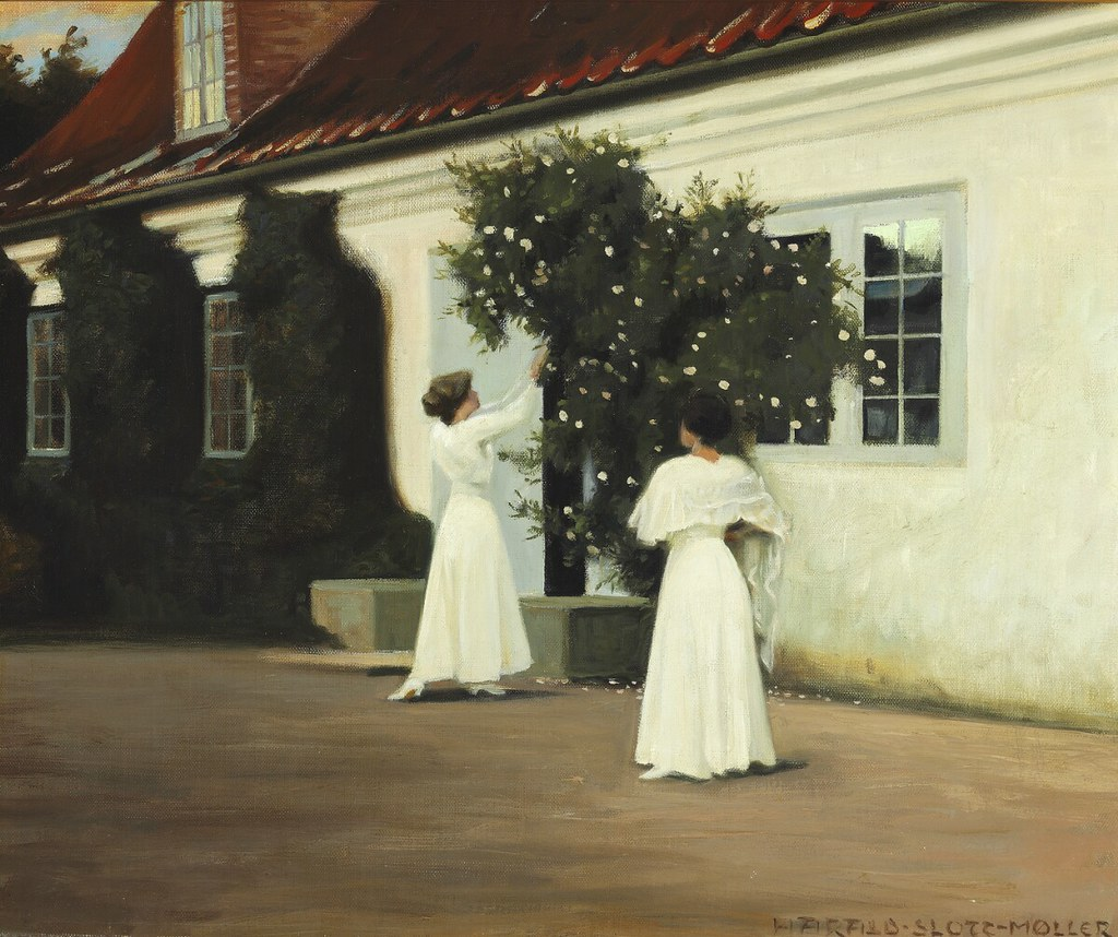 """""""Two young girls in long white dresses picking roses in the garden."""" Study for the painting """"Roses."""" No date."""