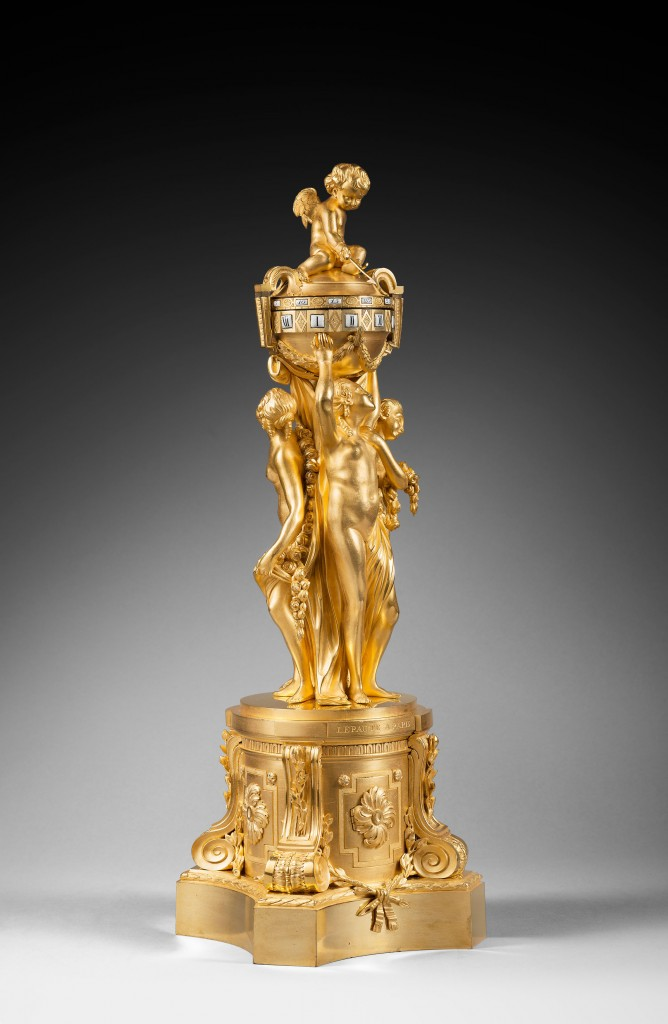 """The Three Graces"" mantel clock. 18th c. Gilt bronze."