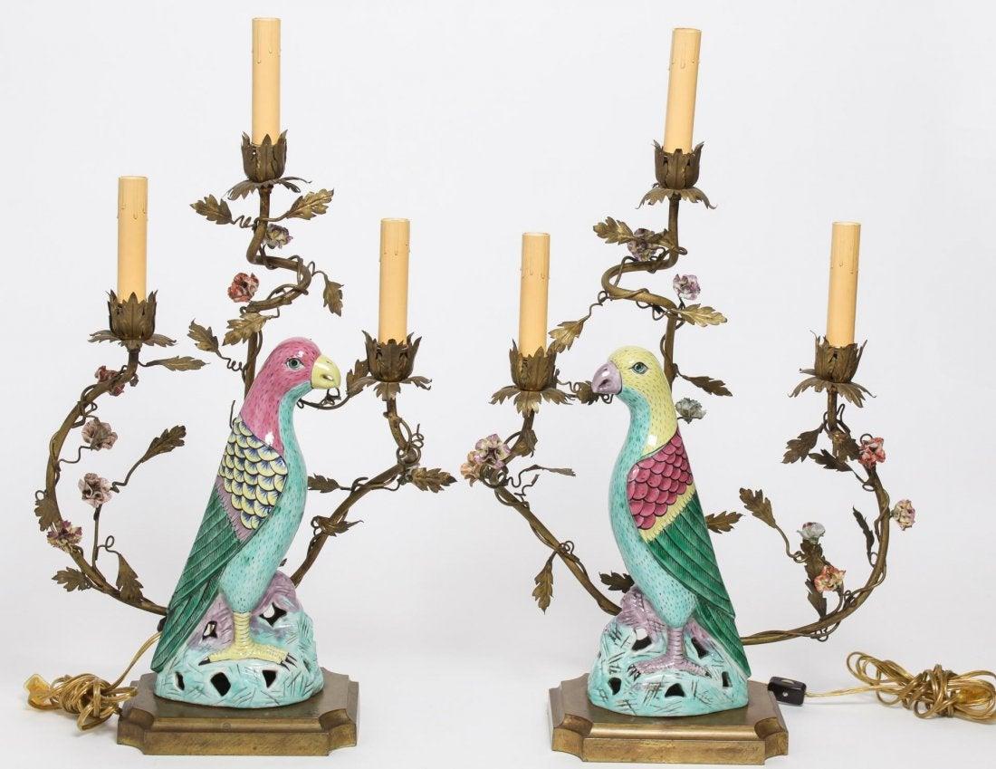 Candlesticks with porcelain parrots. 19th c.